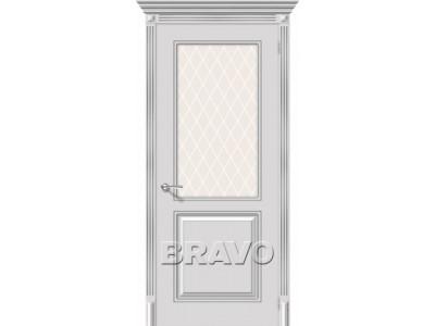 Двери Блюз (Белое серебро) (Художественное остекление)