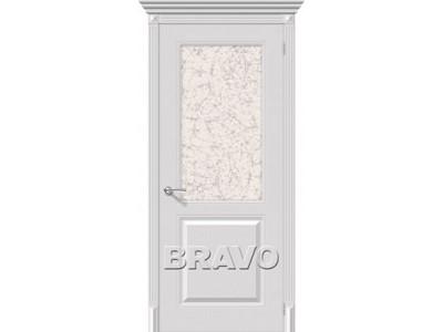 Двери Блюз (Белый) (Остекление художественное)