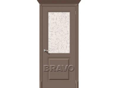 Двери Блюз (Мокко) (Художественное остекление)