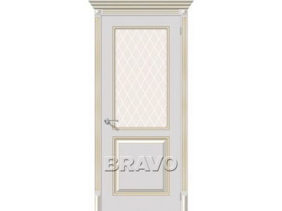 Двери Блюз (Белое золото) (Художественное остекление)